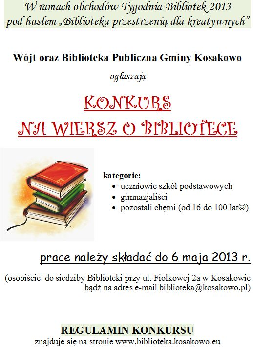 Ogłaszamy Konkurs Na Wiersz O Bibliotece Biblioteka